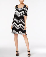 NY Collection Chevron Pleated Cold-Shoulder Dress