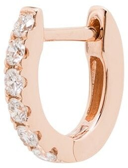 Roxanne First 14kt Rose Gold Mini Chubby Diamond Huggie Hoop Earring