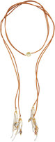 Nakamol Long Leather, Stone & Crystal Lariat Choker Necklace, Cream
