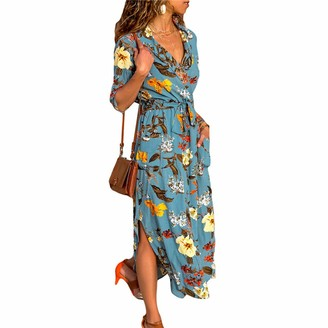 BEUHOME Women's Casual Dress V Neck Chiffon Midi Dress Summer Fashion Stripe Floral Print Ladies Long Sleeve Side Split Beach Dress Sundress for Party Cocktail with Belt