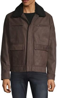 Michael Kors Faux Fur-Collar Leather Jacket