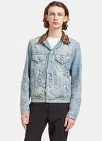 Gucci Men's Scribbled Writing Print Leopard Collared Denim Jacket In Blue