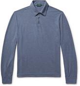 Incotex Slim-fit Mélange Cotton-jersey Polo Shirt - Storm blue