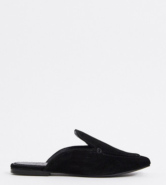 ASOS DESIGN Wide Fit Marigold suede flat mules in black