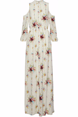 Alice + Olivia Karina Cold-shoulder Floral-print Crepe Maxi Dress
