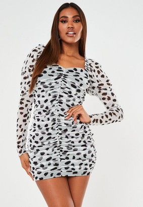 Missguided White Dalmatian Mesh Ruched Mini Dress