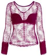 La Perla Lace Frills Fuchsia Leavers Lace Long Sleeve Top With Internal Strapless Bra