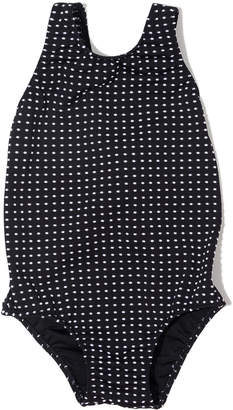 Shoshanna Polka-Dot Box One-Piece Swimsuit, Size 6-14