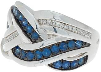 Effy Sterling Silver Crisscross Sapphire & Crystal Ring - Size 7