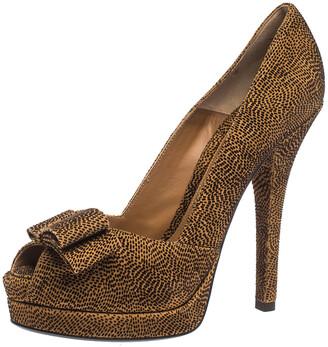 Fendi Brown Deco Textured Suede Peep Toe Bow Platform Pumps Size 40