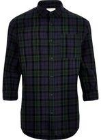 River Island MensGreen check linen-rich shirt