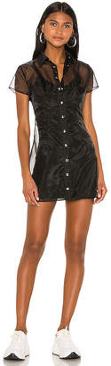 superdown Livie Sheer Shirt Dress