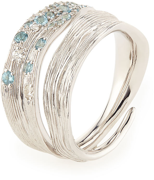 Michael Aram Pavé Sky Blue Topaz & Diamond Ring, Size 7