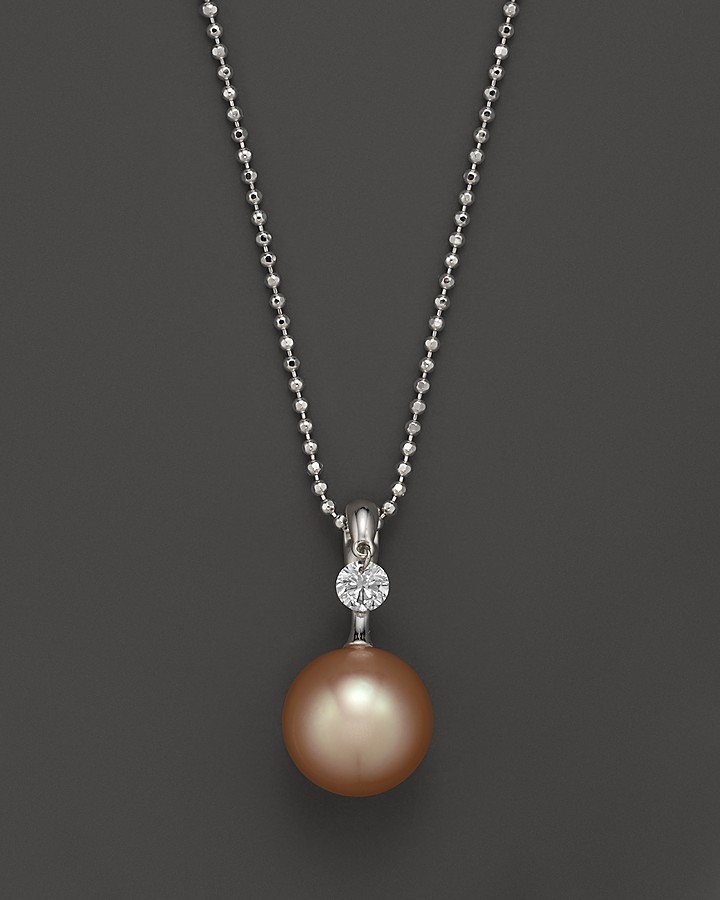 """Tara Pearls 18K White Gold, Diamond and Peach Cultured Freshwater Pearl Necklace, 18"""""""