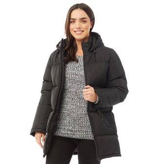 Fluid Womens Long Padded Zip Through Jacket Black