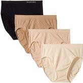 Ellen Tracy Women's 4 Pack Floral Jacquard Hi Cut Panty