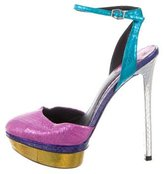Brian Atwood Embossed Iridescent Pumps