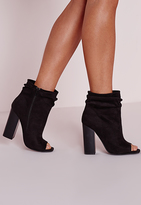 Missguided Black Faux Suede Ruched Detail Peep Toe Ankle Boots