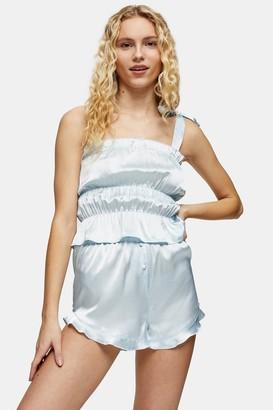 Topshop Womens Blue Satin Ruched Cami Pyjama Set - Blue