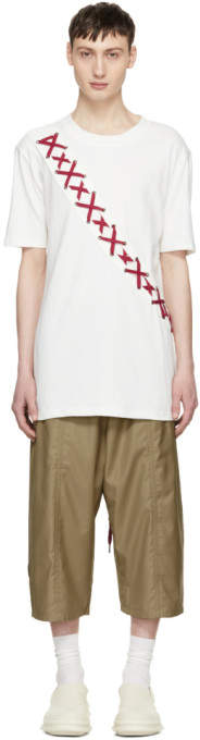 D.gnak By Kang.d White X-String Panel T-Shirt