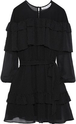 Rebecca Minkoff Porita Ruffled Polka-dot Chiffon Mini Dress