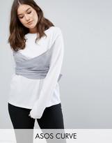 Asos Top with Long Sleeves & Stripe Shirting Wrap Detail