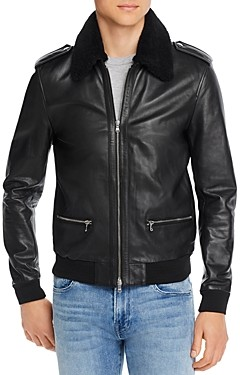 7 For All Mankind Pebbled-Leather Slim Fit Jacket