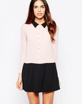Wal G Shirt Dress With Contrast Skirt And Collar