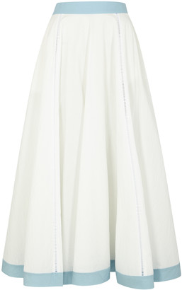 Loewe White embroidered cotton-blend skirt