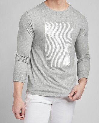 Express Gray Abstract Long Sleeve Graphic T-Shirt