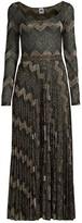 M Missoni Geometric Knit Long-Sleeve Maxi Dress