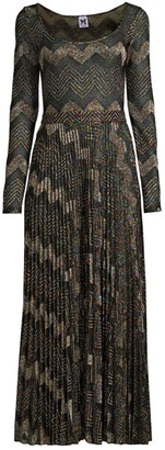M Missoni Geometric Knit Long-Sleeve Maxi Dress