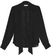 Equipment Leema Pussy-Bow Lace-Paneled Silk Blouse