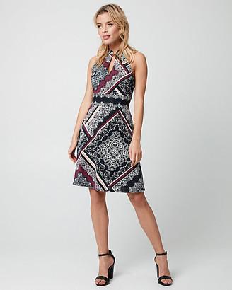 Le Château Scarf Print Slub Knit Mandarin Collar Dress
