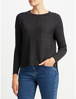 John Lewis Cable High Crew Sweater, Charcoal