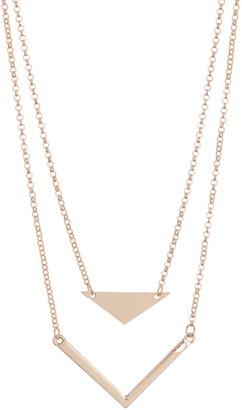 Area Stars Gold-Tone Double Layer Geo Pendant Necklace