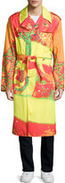 Versace Long-Sleeve Printed Coat, Fuchsia/Orange