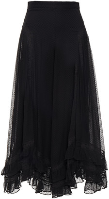 Zimmermann Lace-trimmed Flocked Silk-crepon Midi Skirt