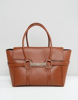 Fiorelli Barbican Foldover Tan Tote Bag With Metal Bar Detail