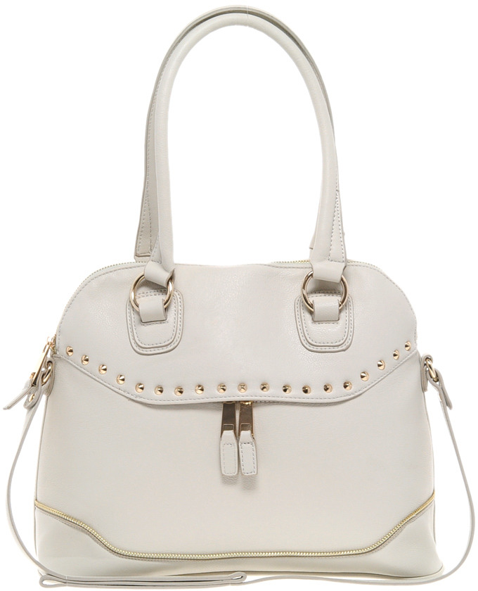 River Island Cream Studded Zip Front Kettle Bag