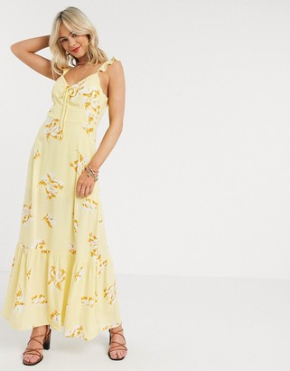 Gilli tie front maxi dress in yellow floral