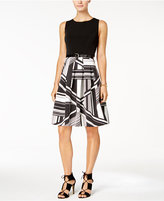 Tommy Hilfiger Belted Printed Fit & Flare Dress