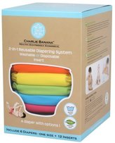 Charlie Banana 6 Reusable Diapers 12 Inserts Set Tutti Frutti, Large by