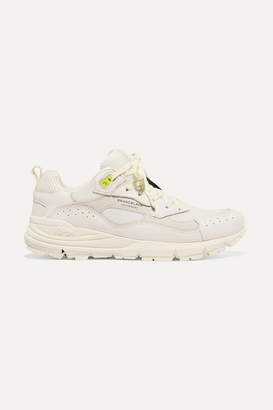 Brandblack Nomo Appliqued Leather, Nubuck And Mesh Sneakers - White