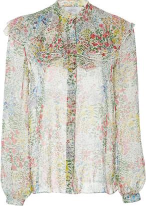 Giambattista Valli Floral-Print Ruffled Silk-Chiffon Blouse