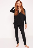 Missguided Wrap Front Loungewear Tracksuit Black