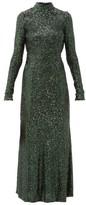 Galvan Modern Love Backless Sequinned Dress - Womens - Green