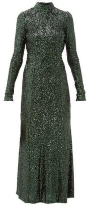 Galvan Modern Love Backless Sequinned Dress - Green