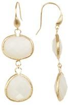 Rivka Friedman 18K Gold Clad Bezel Set Faceted Mother of Pearl Drop Earrings