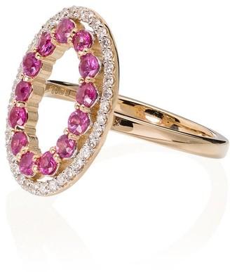 Mateo 14kt Gold Diamond Sapphire Halo Ring